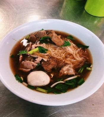 Bowl of beef noodles soup