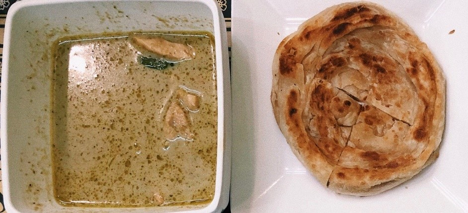 A plate of roti and bowl of green curry chicken soup